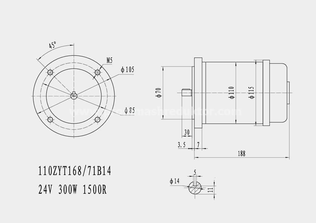 Коллекторный электродвигатель 110ZYT168/71B14