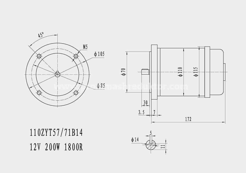Коллекторный электродвигатель 110ZYT57/71B14