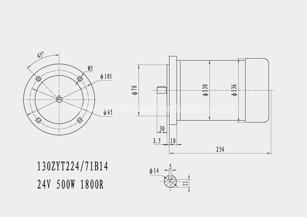 Коллекторный электродвигатель 130ZYT224/71B14