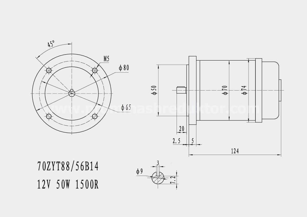 Коллекторный электродвигатель 70ZYT88/56B14