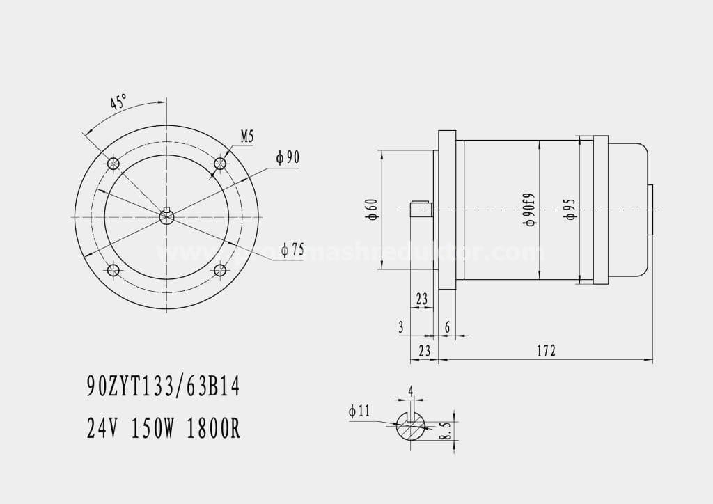 Коллекторный электродвигатель 90ZYT133/63B14