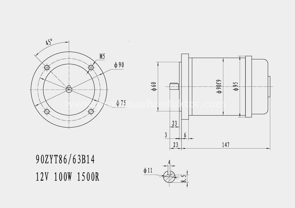 Коллекторный электродвигатель 90ZYT86/63B14