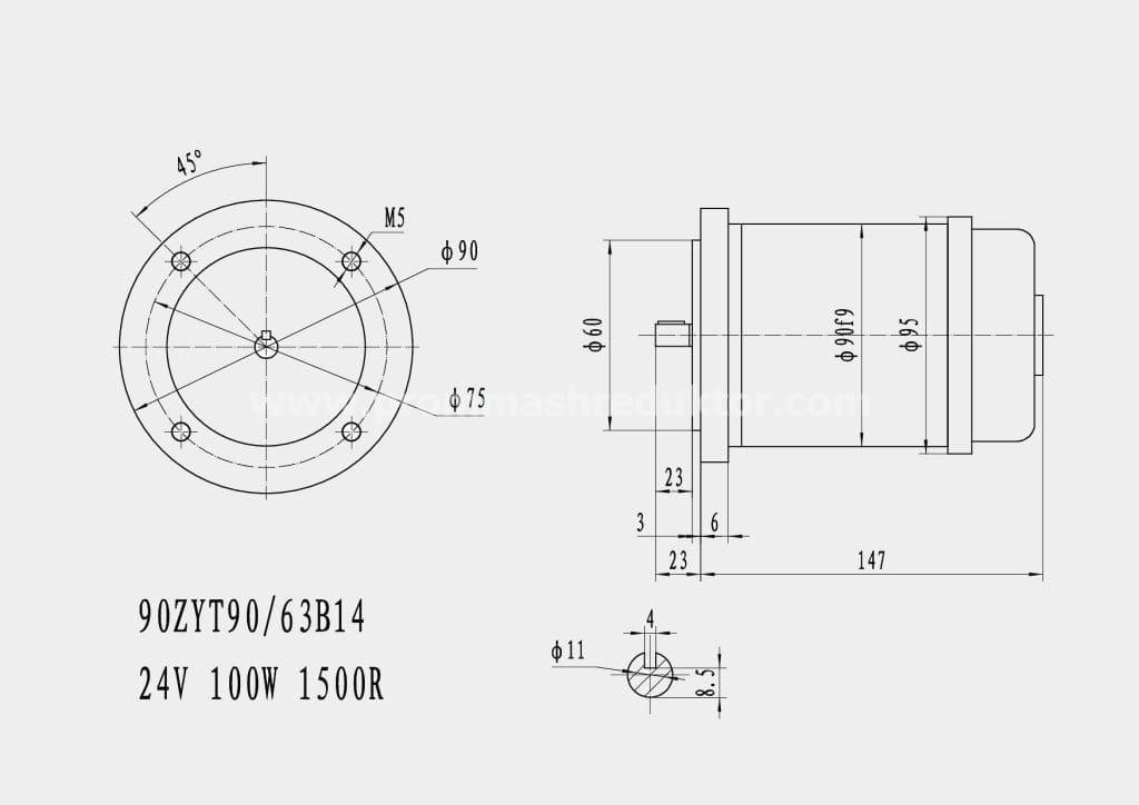 Коллекторный электродвигатель 90ZYT90/63B14