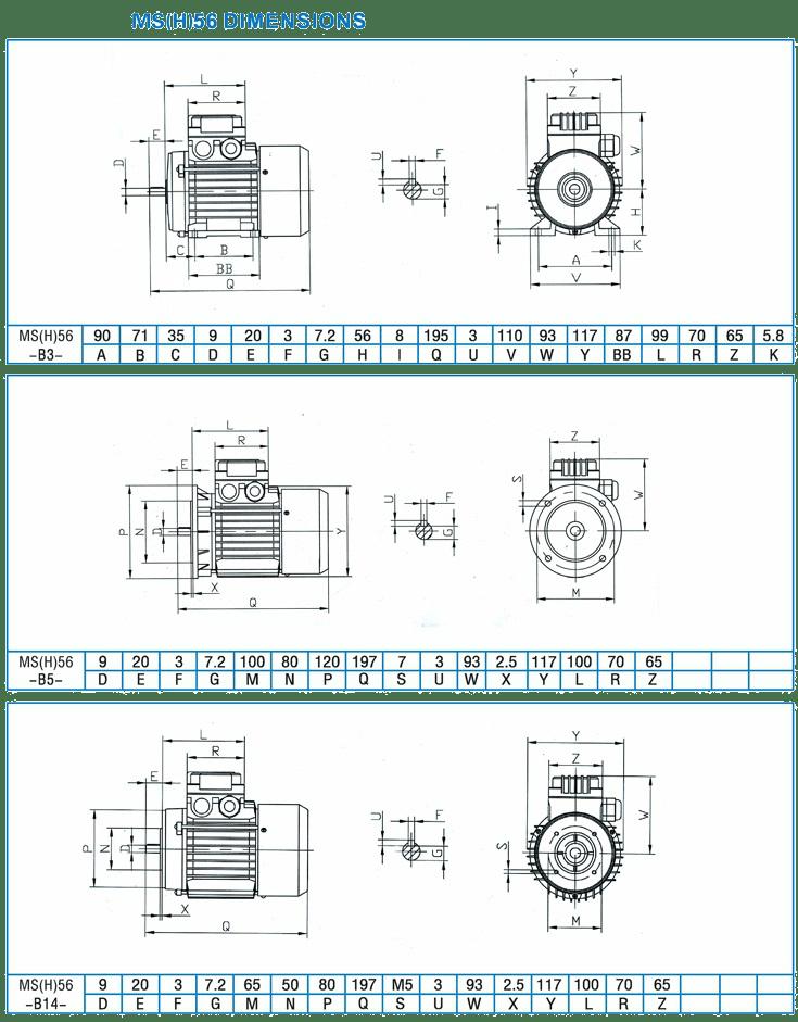 Габаритные и присоединительные размеры трёхфазных асинхронных электродвигателей серии MS(H)